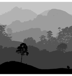 Gray landscape scenery with hills and forest eps10 vector