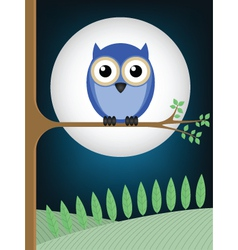 Owl full moon vector