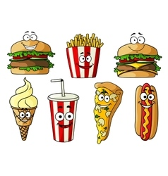 Fast food isolated cartoon characters vector