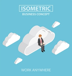 Isometric businessman sitting on cloud and working vector