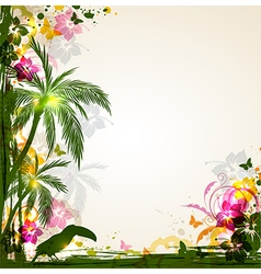 Summer background with tropical flowers vector