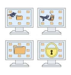 Computer security icons set 2 vector