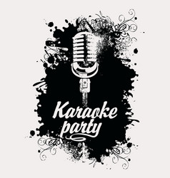 banner for karaoke party with mic and inscription vector image