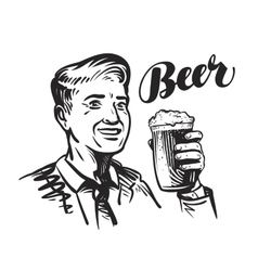 Beer bar or Pub Happy smiling man with mug of vector image vector image