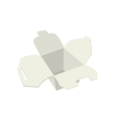 Empty white take out box open cartoon icon vector image