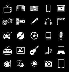 Entertainment icons on black background vector
