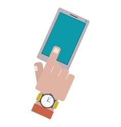 finger touching a smartphone screen vector image