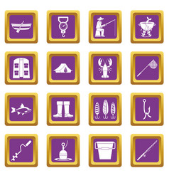 Fishing tools icons set purple vector
