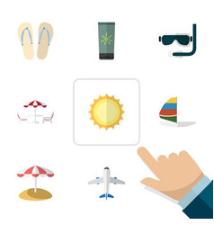 Flat icon beach set of moisturizer sunshine vector