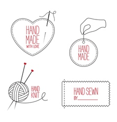 Handmade and tailor emblems set vector image vector image