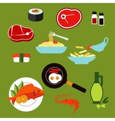 Healthy breakfast and lunch dishes flat icons vector
