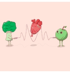 heart jumping rope that held the apple and vector image vector image