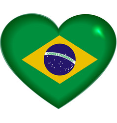 Heart shape brazilian flag vector
