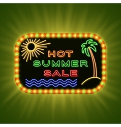 Hot summer sale retro neon light vintage frame vector