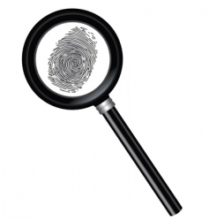 magnifier and fingerprint vector image