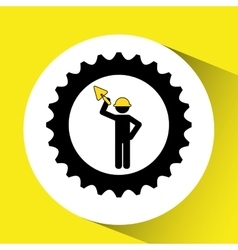Man worker construction gears shovel icon vector