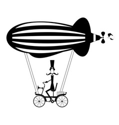 mustache man in the top hat flies on the airship i vector image