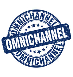 Omnichannel blue grunge stamp vector
