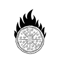 Pizza Silhouette Fire Badge Isolated On White vector image vector image