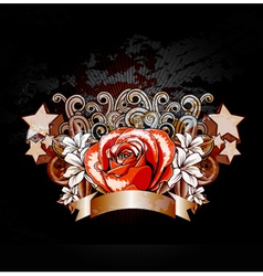 rose with ribbon vector image vector image