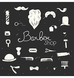 Set of vintage barber shop design elements black vector