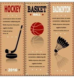 Sports items on paper Set of Vintage Sport vector image vector image
