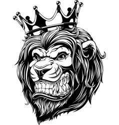 The head of a lion in the crown vector