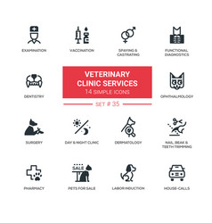 veterinary clinic services - modern simple icons vector image