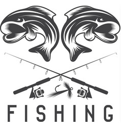 vintage fishing design template with abstract fish vector image vector image
