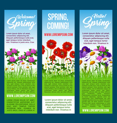 Welcome spring banners flowers greetings vector