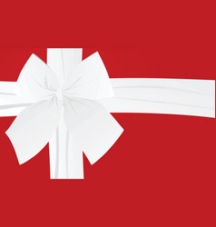 white bow on red background card vector image vector image