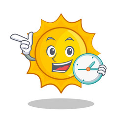 With clock cute sun character cartoon vector