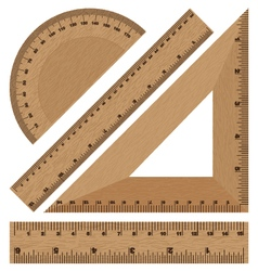 Wooden ruler instruments on a white background vector