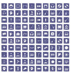 100 audience icons set grunge sapphire vector