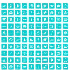 100 joy icons set grunge blue vector