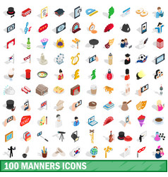 100 manners icons set isometric 3d style vector image
