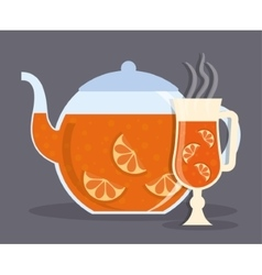 Kettle and glass of tea drink design vector