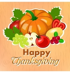 Happy thanksgiving harvest fruits and vegetables vector