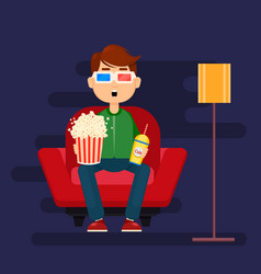 Young man sitting in comfortable armchair at home vector