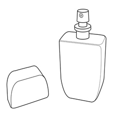 Cologne spray bottle out line vector