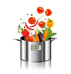 Vegetables falling into a pot healthy and diet vector