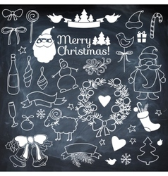 Set of christmass elements on blackboard with vector