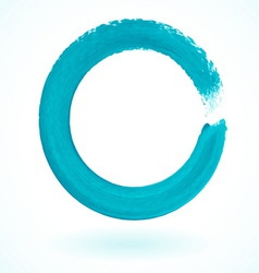 Turquoise paintbrush circle frame vector