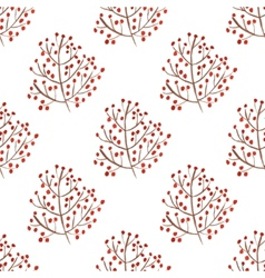 Watercolor seamless pattern with red berry vector