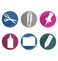 Flat office supply icons vector