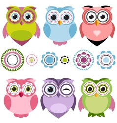 Cute cartoon owls set vector
