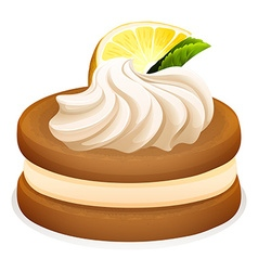 Cookie with lemon and cream vector