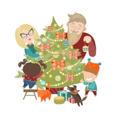 Family decorating a christmas tree vector