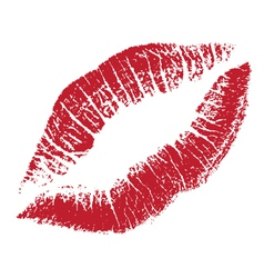 red lips print silhouette vector image