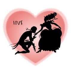 Vintage silhouettes of lovers vector